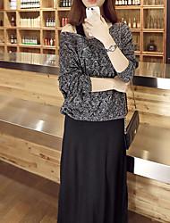Damen Standard Pullover-Lässig/Alltäglich Einfach Solide Mehrfarbig V-Ausschnitt Langarm Polyester Winter Mittel