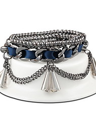 Women Alloy Silver Tassels Strand Bracelets