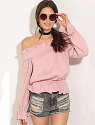 T-shirt Da donna Casual Moda città Primavera / Autunno,Tinta unita A barca Poliestere Rosa Manica lunga Medio spessore