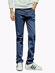 Men's Fashion Classic Wild Solid Slim Fit Straight Casual Denim Pants,Casual / Plus Size/Straight
