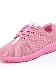 Feminino-TênisRasteiro-Preto Rosa Branco-Couro Ecológico-Casual Para Esporte