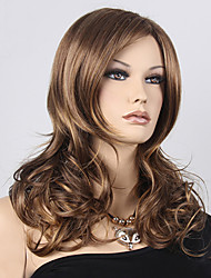 Fashion Natural Wavy Heat Resistant Hair Machine Made Blonde Brown Hightlight Color Synthetic Wig