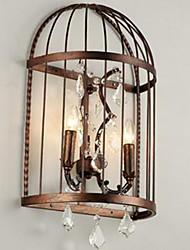 спальня прикроватные проходу творческой личности кованого железа Birdcage кристалл лампы