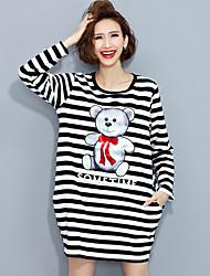 Tee-shirt Aux femmes,Rayé / Imprimé Décontracté / Quotidien simple Printemps Manches Longues Col Arrondi Noir Coton Moyen