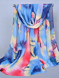 Women's Chiffon Leaves Print Scarf,Royal Blue/Pink/Gray/Blue/Purple/Red/Brown