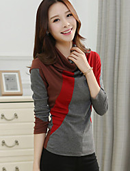 Women's Going out / Casual/Daily Cute / Active Spring / Fall T-shirt,Color Block Halter Long Sleeve