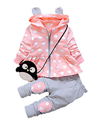 Girl's Casual/Daily Print Clothing Set,Cotton Fall Pink / Purple / Red / Gray