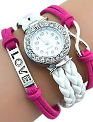 Popular Silver Infinity Love Charm Bracelet Antique Bangle Watch Leather Crystal Watch Montre Femme