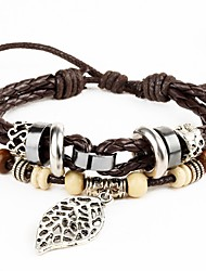 Punk Men's Bracelet PU Leather Bracelet Leaf Charm Multilayer for Men Fashion Jewelry