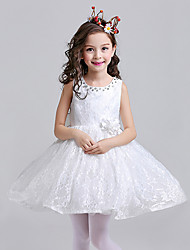 A-line Knee-length Flower Girl Dress - Cotton / Lace / Satin Sleeveless Jewel with Crystal Detailing / Flower(s)