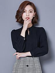 Women's New Fashion V Collar Chiffon Long Sleeve Blouses Shirt