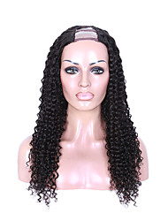 EVAWIGS 16-26 Inch U Part Kinky Curly Brazilian Remy Hair Small curl  Full Lace Wig Natural Black deep wave