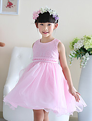 A-line Knee-length Flower Girl Dress - Cotton / Satin / Tulle Sleeveless Jewel with Lace / Pearl Detailing