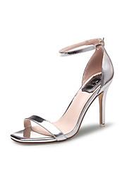 Damen-Sandalen-Kleid / Lässig-Lackleder-Stöckelabsatz-Absätze / Quadratische Zehe / Vorne offener Schuh / Sandalen-Schwarz / Silber /