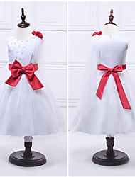 Ball Gown Tea-length Flower Girl Dress - Organza Satin Jewel with Beading Bow(s)