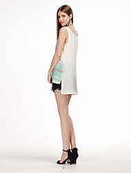 Women's Casual/Daily Simple Summer Tank Top,Geometric Strap Sleeveless White Polyester Thin