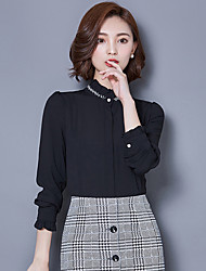 Women's New Fashion Stand Collar Drilling Beaded Chiffon Long Sleeve Blouses