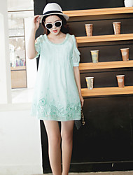 Boutique S Women's Going out Cute Loose Dress,Solid / Embroidered Round Neck Above Knee Short Sleeve Blue / Green Rayon