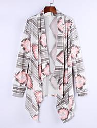 Women's Color Block Geometric Pink / Green Cardigan , Casual / Work Long Sleeve