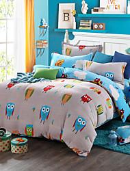 Owl Print Bedlinen Fleece winter bedding set queen king size soft bedsheet pillowcase Duvet cover 4pcs bed set