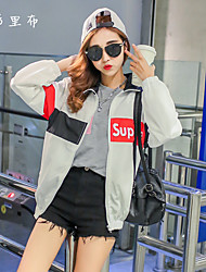Women's Casual/Daily Simple Spring / Fall Leather Jackets,Animal Print Shirt Collar Long Sleeve White Polyester Medium