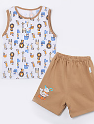 Baby Casual/Daily Animal Print Clothing Set,Cotton Summer-Brown