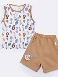Baby Kleidungs Set-Lässig/Alltäglich Tiermuster Druck Baumwolle Sommer-Braun