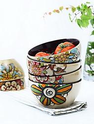 características de cerâmica macarrão salada de personalidade pintados à mão em tigela de sopa (estilo aleatório)