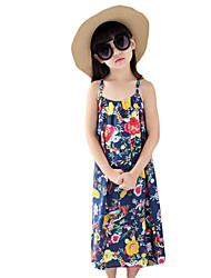 Girl's Holiday Print Dress,Cotton Summer Blue / Orange