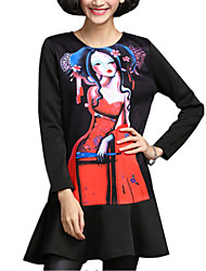 Spring/Fall Casual/Daily/Plus Size Women's Loose Dresses Round Neck Long Sleeve Personality Printing Dress
