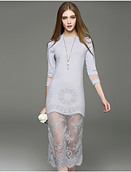 Mara Carol® Women's Round Neck 3/4 Length Sleeve Tea-length Dress-1618217