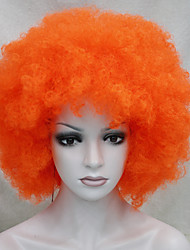 funs afro orange, clown, perruque de cirque vient bouclés unisexe de halloween costume adulte perruque