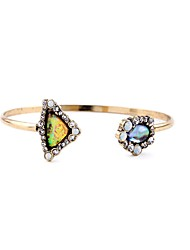 Bohemian Rhinestone Cuff Bracelets Golden Multicolor Gem Bracelet Fashionable Geometric Alloy Jewellery