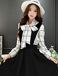 dabuwawa donne di uscire casuale / lavoro sofisticato camicia / semplice / plaid, controllare stare manica lunga
