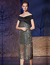 Cocktail Party Prom Dress - Sexy Sheath / Column Off-the-shoulder Tea-length Satin Sequined with Buttons Sequins