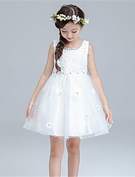 A-line Knee-length Flower Girl Dress - Cotton / Satin / Tulle Sleeveless Jewel with Crystal Detailing