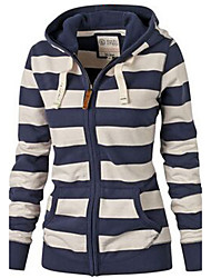Women's Casual/Daily /Striped Blue Hooded Long Sleeve Cotton Fall / Winter Medium