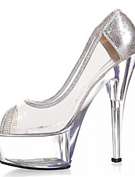 New 15CM crystal car diamond high heels Women's Shoes PVC / Glitter Heels / Peep Toe Heels Wedding / Outdoor / Party