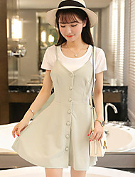 Women's Casual/Daily Simple Two Piece Dress,Solid V Neck Above Knee Short Sleeve Multi-color Cotton Summer