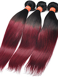4 Pieces Straight Human Hair Weaves Malaysian Texture Human Hair Weaves Straight Wine Red