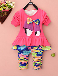 Girl's Cotton Spring/Autumn Fashion Patchwork Cartoon Print Floral Round Neck Long Sleeve Two-piece Set