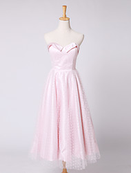 Cocktail Party Dress A-line Sweetheart Tea-length Satin / Tulle