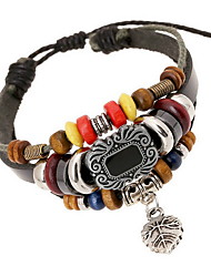 Women Alloy Black Leaf Leather Bracelets