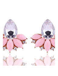 New Arrival Summer Women Fashion Jewelry Cute Pink Stud Earrings Rhinestone Crystal Earrings for Women