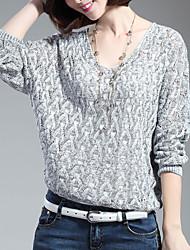 Damen Standard Pullover-Lässig/Alltäglich Einfach Solide Blau Rot Grau V-Ausschnitt Langarm Baumwolle Polyester Winter Mittel