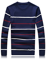 Men's Fashion Striped Round Collar Casual Slim Fit Pullover Knitted Sweater;Casual/Plus Size