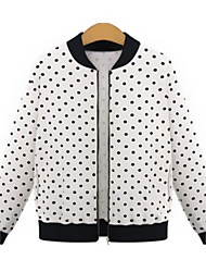 Women's Going out Street chic Spring Jackets,Polka Dot Stand Long Sleeve White / Black Nylon Medium