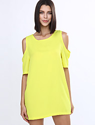 Women's Off The Shoulder White/Black/Yellow Round Neck Dress,Chiffon Above Knee Short Sleeve