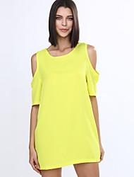 TS Women's Off The Shoulder White/Black/Yellow Round Neck Dress,Chiffon Above Knee Short Sleeve