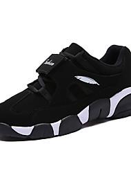 Femme-Décontracté-Noir / Blanc-Talon Plat-Confort-Sneakers-Tissu